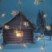 Csillag fényfüggöny, átlátszó kábel, meleg fehér, 1,5x1,5 méter, 198 LED KDS 142