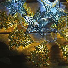 Ezeregyéjszaka fényfüggöny, átlátszó kábel, fenyő és csillag dísz, 64 LED, 1,2x1,2 méter KDE 106