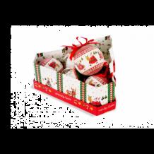 Karácsonyi gömbdísz 75 mm 6 db fenyő alakú doboz KCG 074
