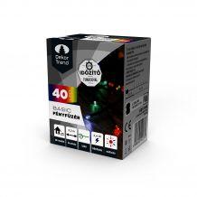 Dekortrend Basic 40 LED fényfüzér timer funkcióval, elemes, színes KDT 045