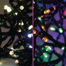 Színváltó fényfüzér, zöld kábel, meleg és multi színek, 240 LED, 19,2 méter KDM 242